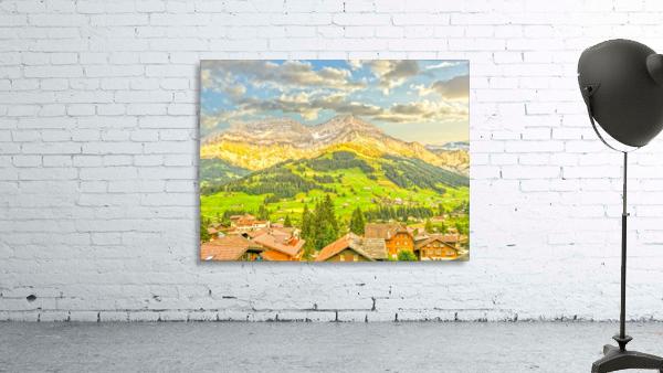 Golden Rays in the Mountains Alpine Village Switzerland