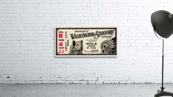 1930 Washington vs. Stanford Ticket Stub Art