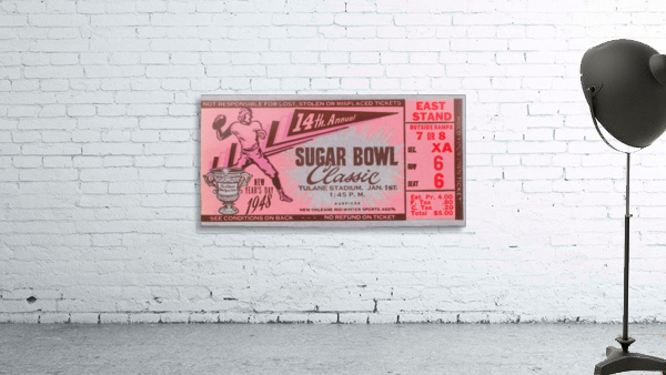1948 Sugar Bowl Ticket Art Texas Win