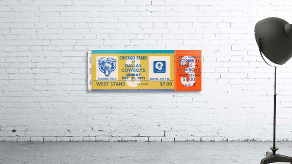 1971 Chicago Bears vs. Dallas Cowboys Ticket Art