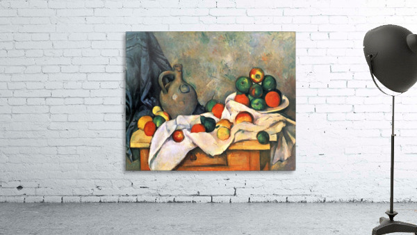Still life, drapery, pitcher and fruit bowl by Cezanne