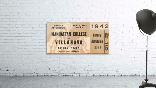 1942 Villanova vs. Manhattan Football Ticket Art