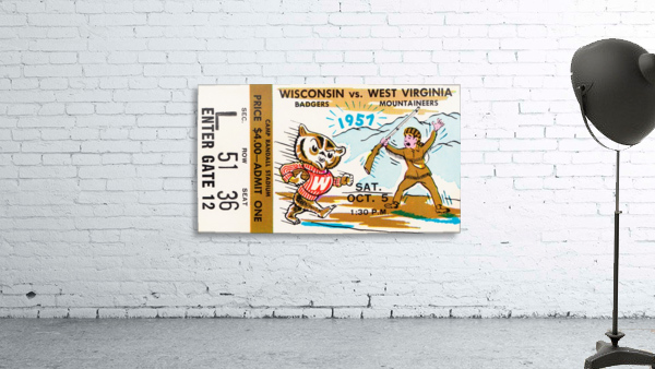 1957 Wisconsin vs. West Virginia Ticket Stub Art