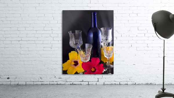 Blue Wine Bottle With Crystal and Tropical Flowers