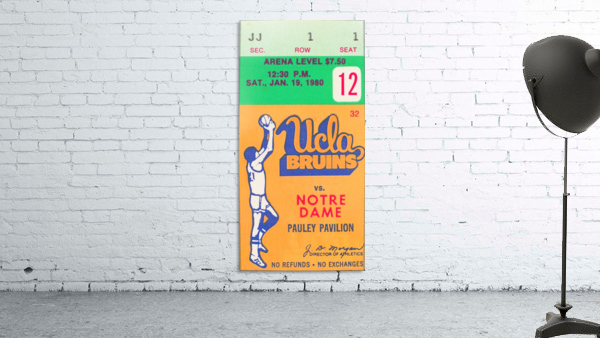 1980 UCLA Bruins Basketball Ticket Stub  Art