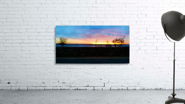 lake sunset 4 trees