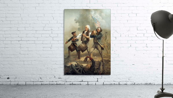 A painting of three men marching through a battle scene