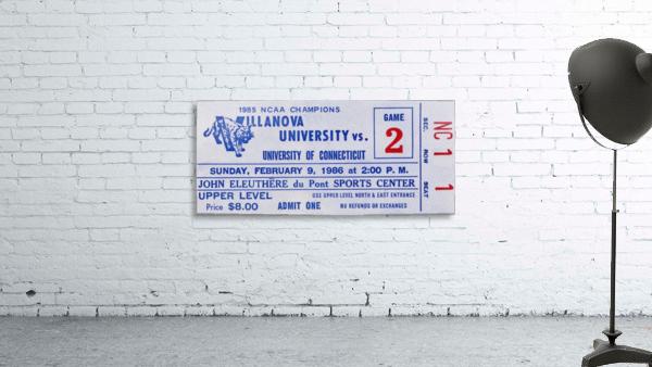 1986 Villanova vs. Connecticut Basketball Ticket Canvas
