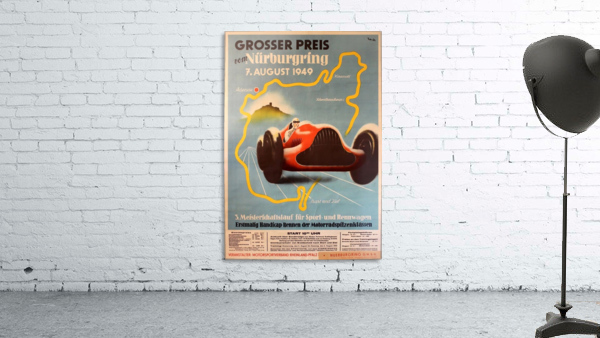 Original Vintage Sports Car Racing Poster for the 1949 Nurburgring Grand Prix