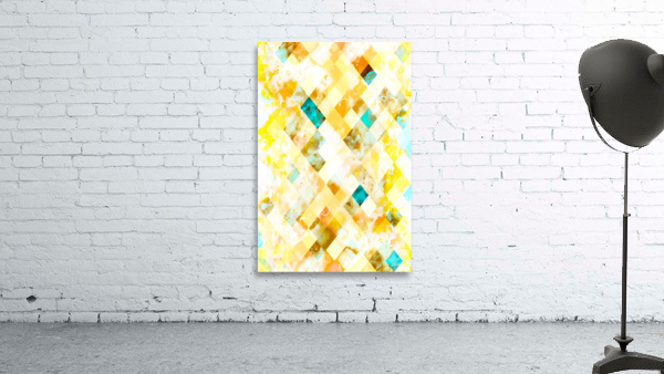 geometric pixel square pattern abstract in yellow brown blue
