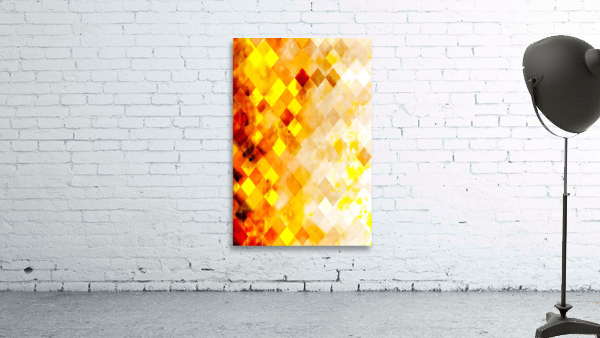geometric pixel square pattern abstract in brown and yellow