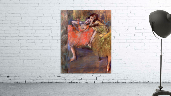 Two dancers behind the scenes by Degas