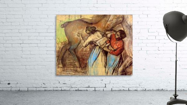 Two women washing horses by Degas