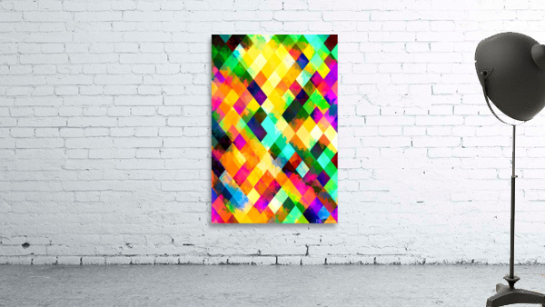 geometric square pixel pattern abstract background in yellow blue green pink orange