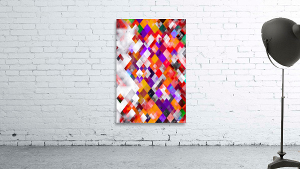 colorful geometric square pixel pattern abstract art in orange red purple