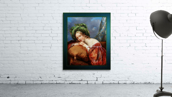 Dame Mit Grunem Turban by Aimee Pages-Brune Classical Fine Art Xzendor7 Old Masters Reproductions