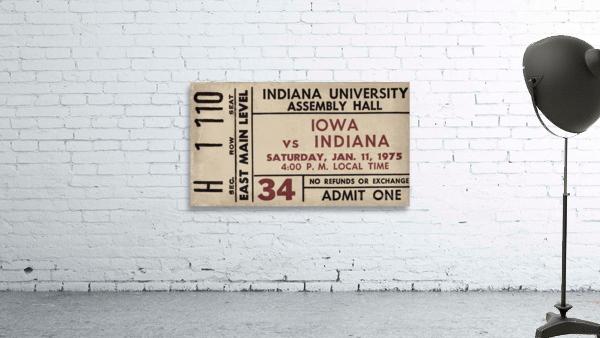 1975 Indiana vs. Iowa Basketball Ticket Metal Sign