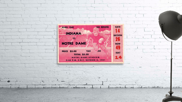 1941 Indiana vs. Notre Dame Football Ticket Canvas