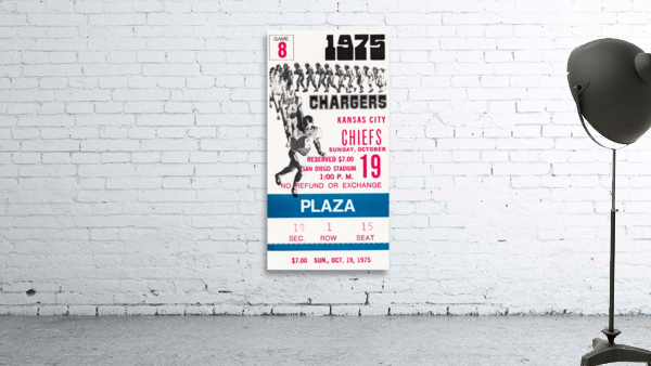 1975 San Diego Chargers Ticket Canvas