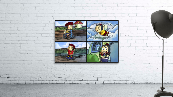 Buster the Bee in Action   4 panel Favorites for Kids Room and Nursery   Bugville Critters