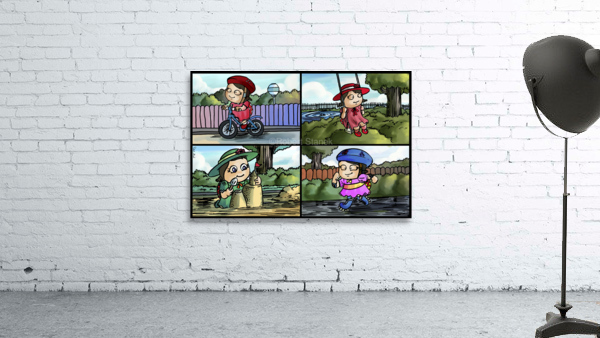 Lass the Ladybug in Action   4 panel Favorites for Kids Room and Nursery   Bugville Critters
