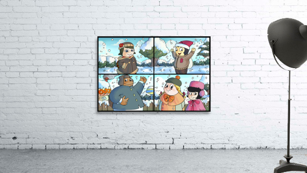 Winter Wonderland Fun   Playing in the Snow   4 panel Favorites for Kids Room and Nursery   Bugville Critters