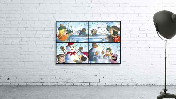 Winter Wonderland Fun   Snowballs  Snowforts and Snowman   4 panel Favorites for Kids Room and Nursery   Bugville Critters