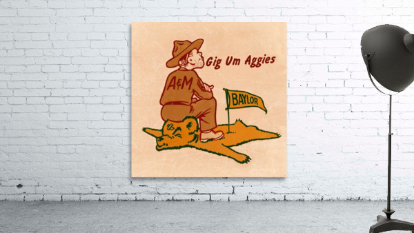 Vintage Fifties Texas A&M vs. Baylor Cartoon Art