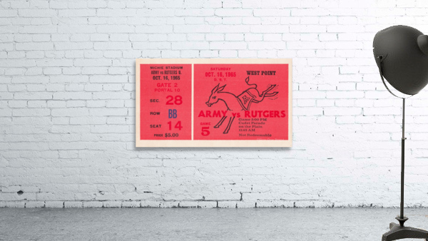 1965 Army vs. Rutgers Football Ticket Art