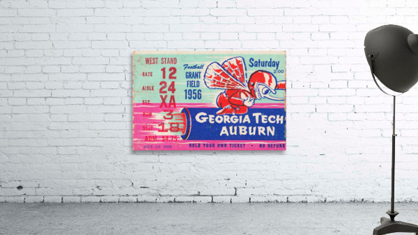 1956 Georgia Tech vs. Auburn Football Ticket Stub Art