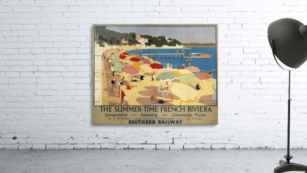The Summertime French Riviera Southern Railway travel poster