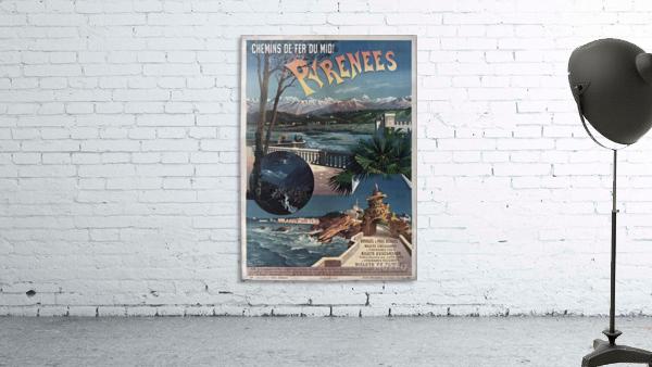 Chemins de fer du midi Pyrenees vintage poster