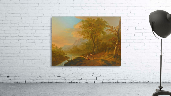 Travellers in a river landscape