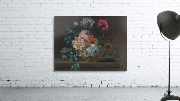 Still life of variegated carnations and other flowers on a ledge