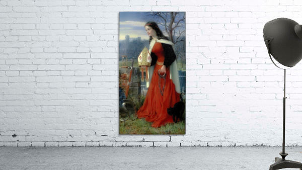 Allegorical Maiden in red dress