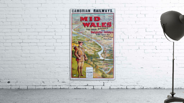 Original vintage poster golf Cambrian railways Mid Wales river
