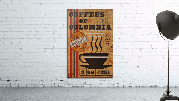 Colombian coffee vintage poster