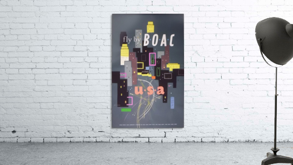 Original 1954 BOAC USA Travel Poster