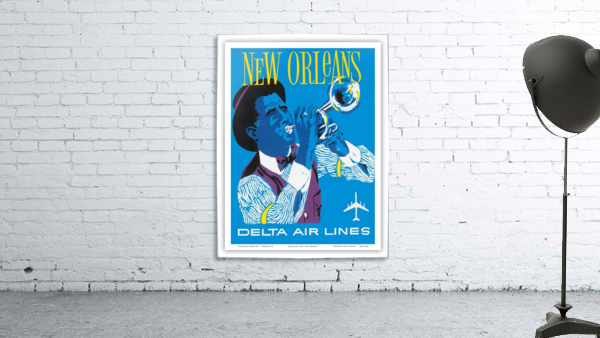 Delta Air Lines New Orleans USA Vintage Travel Poster