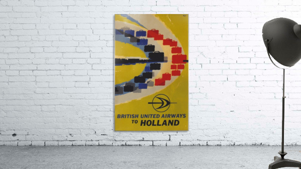 British United Airlines to Holland travel poster