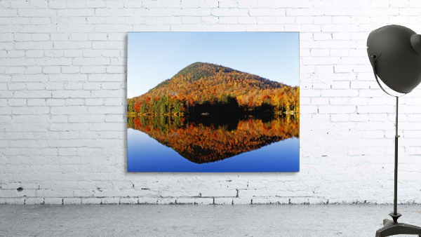 Autumn Colours Reflected In Water, Eastern Townships, Quebec, Canada