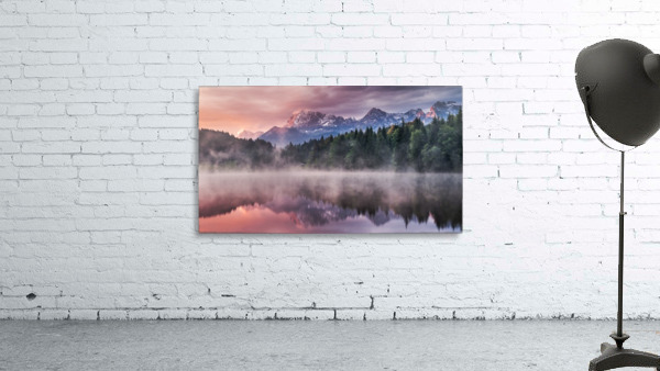 Sunrise at a Lake with Alps in the Background