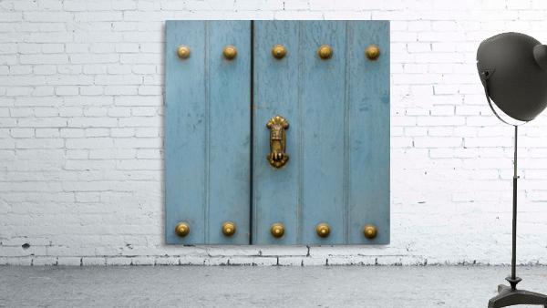 A Blue Door With Brass Decorative Knobs; Cusco, Peru