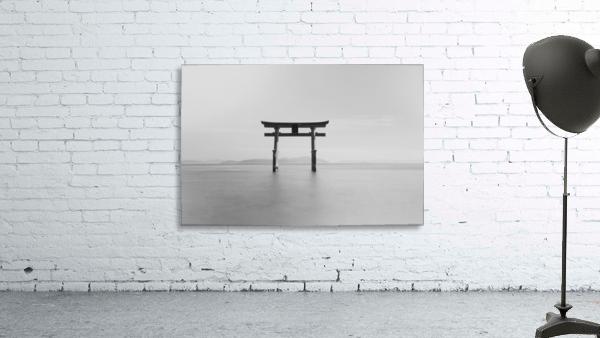 Black and white image of a floating shrine on a lake; Takashiyama, Shiga, Japan