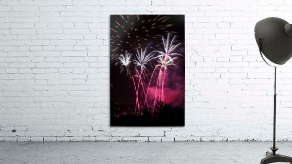 Colourful fireworks at nighttime; Calgary, Alberta, Canada