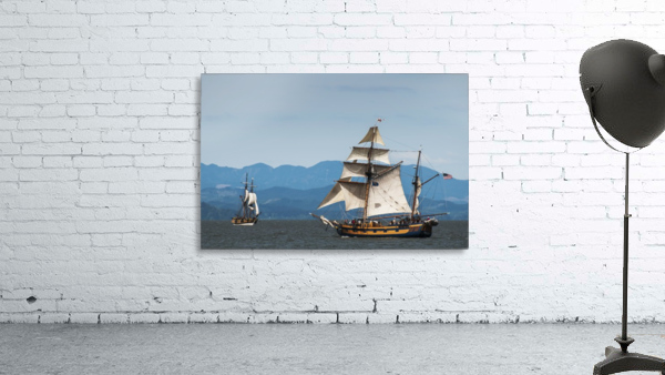 Tall ships sail on the Columbia River near Astoria; Oregon, United States of America