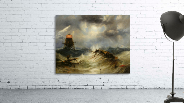 A stormy day on the sea and the lighthouse