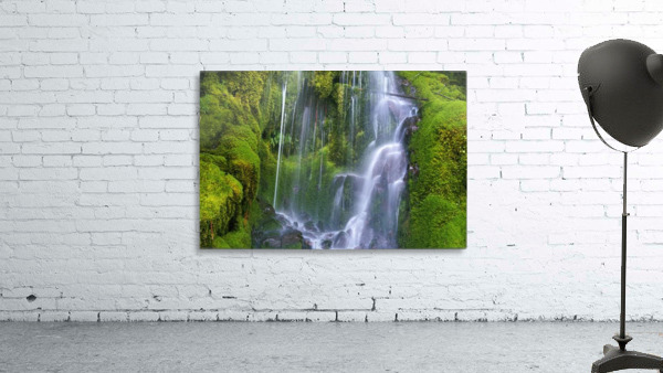 Waterfall Over Moss-Covered Rocks