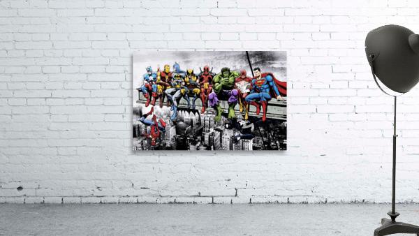 Marvel and DC Superheroes Lunch Atop A Skyscraper Featuring Captain America, Iron Man, Batman, Wolverine, Deadpool, Hulk, Flash & Superman