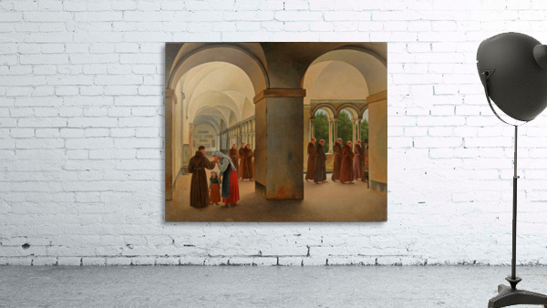 Procession of monks in the cloister of the Basilica San Paolo Fuori le Mura in Rome